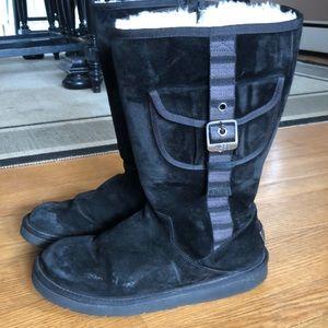 Black suede pocket UGG tall boots